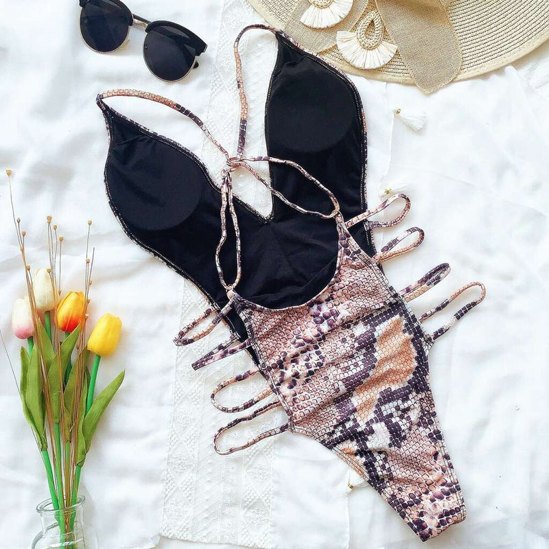 Side Cut Out Snake Print One Piece Swimsuit