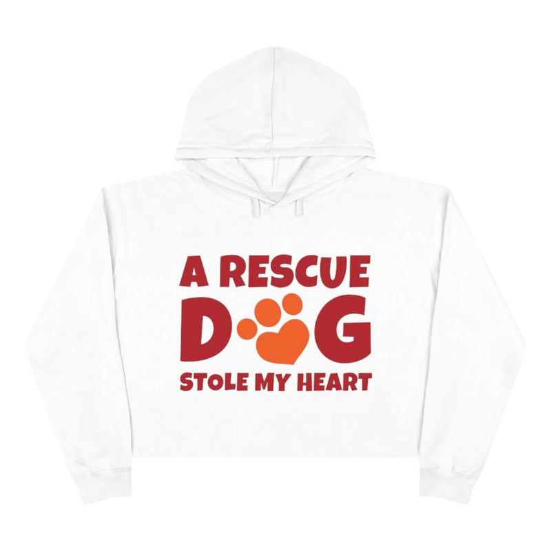 A Rescue Dog Stole My Heart Crop Hoodie - Rising Vegans