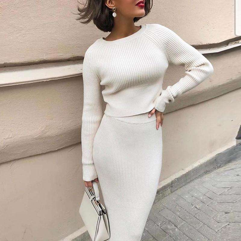 Ribbed Two Piece High Waist Skirt Set