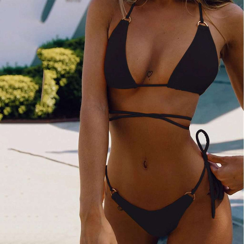 Smooth Ring Strappy Triangle Bikini - Rising Vegans