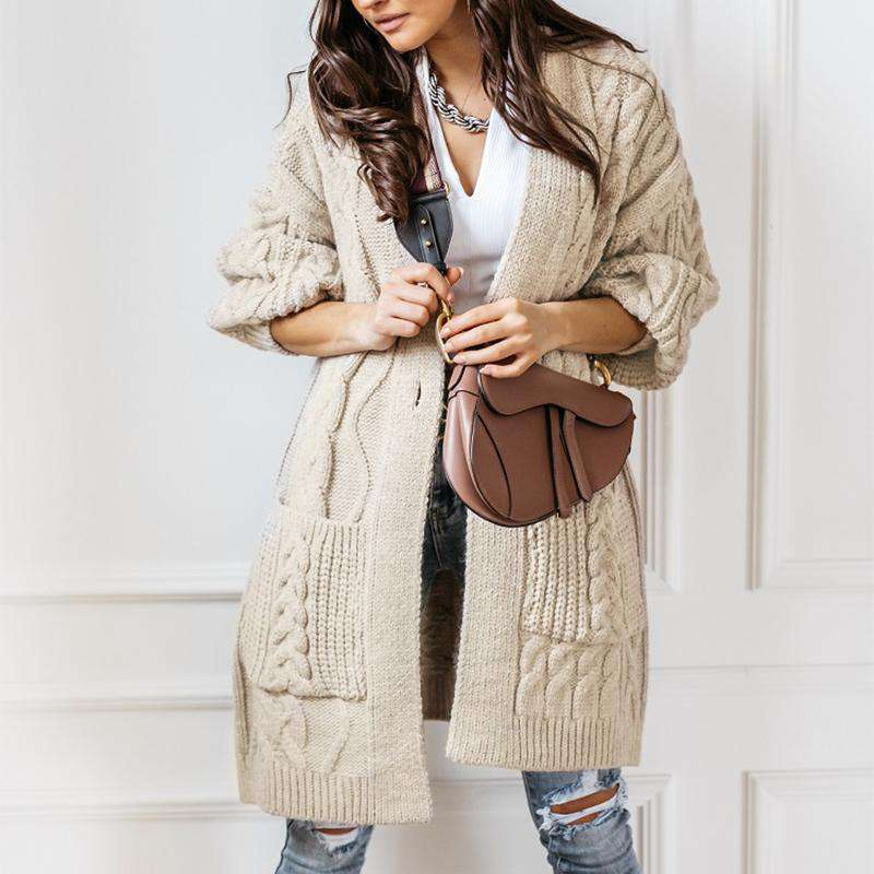 Long Cable Knit Pocket Cardigan
