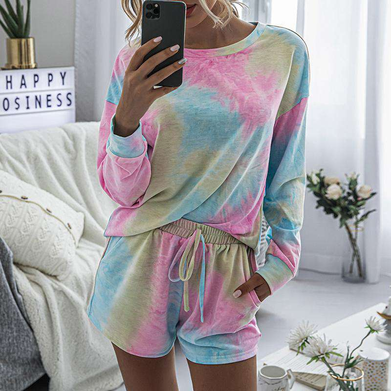 Long Sleeve Tie-Dye Short Set - Rising Vegans