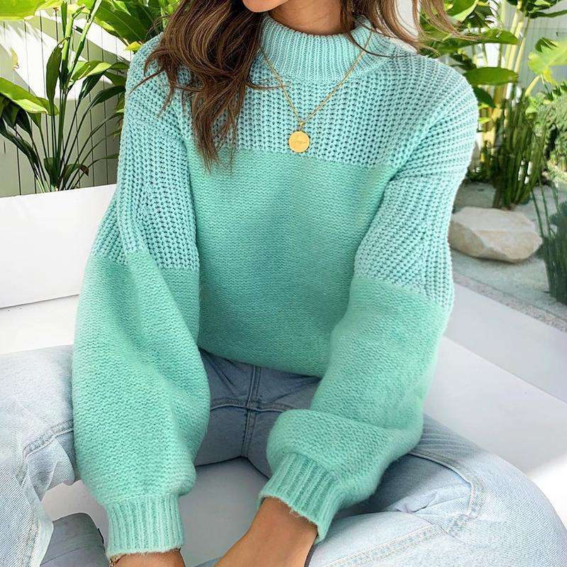 Solid Pullover Knitted Sweater - Rising Vegans