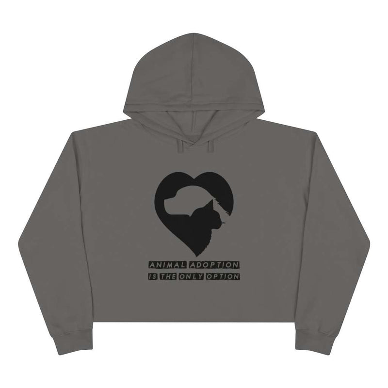 Animal Adoption Is The Only Option Crop Hoodie - Rising Vegans