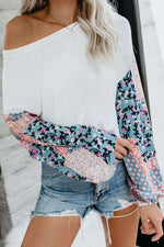 Patricia Floral Chiffon Sleeve Knit Blouse - Rising Vegans