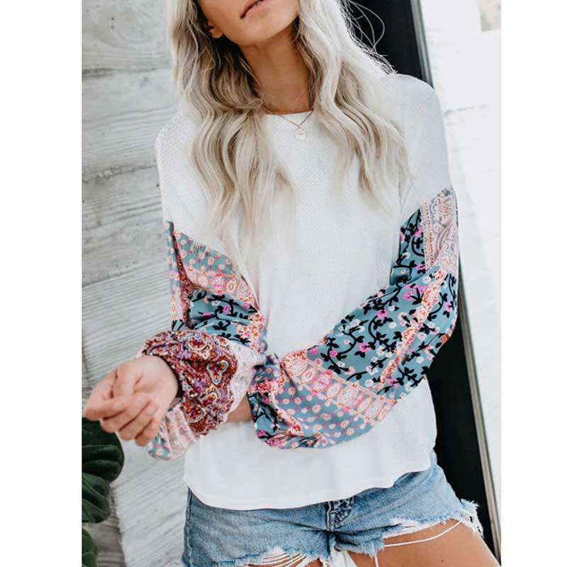 Patricia Floral Chiffon Sleeve Knit Blouse