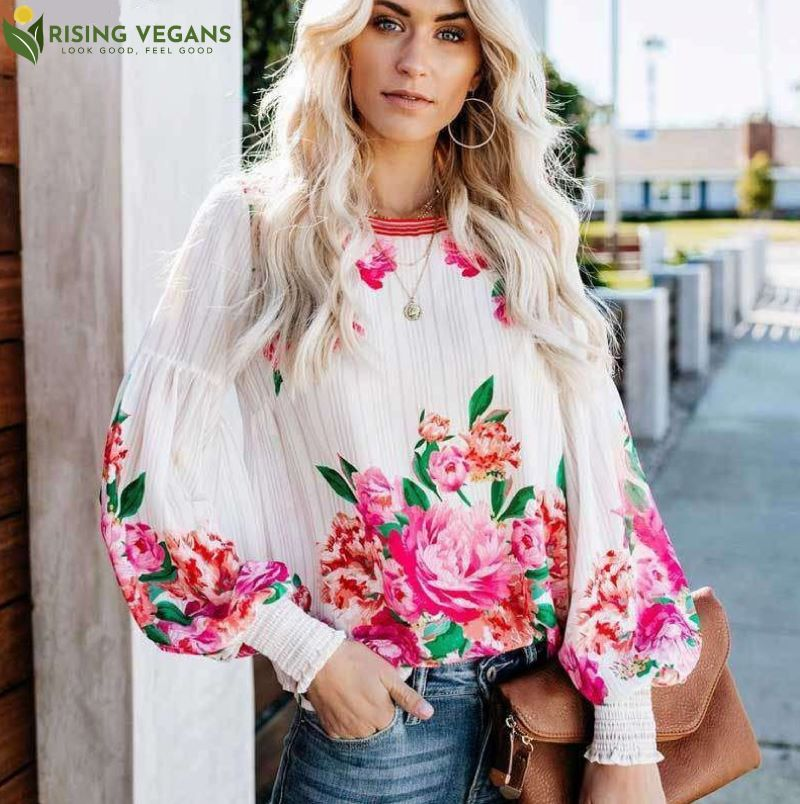 Bonica Rose Long Sleeve Blouse - Rising Vegans