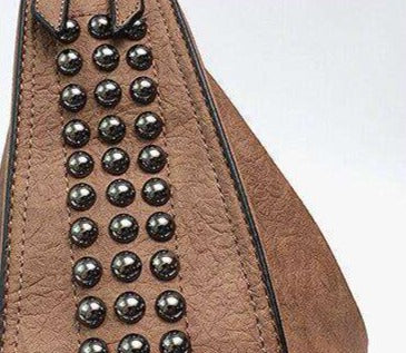 Studded Double Strap Vegan Leather Tote Bag