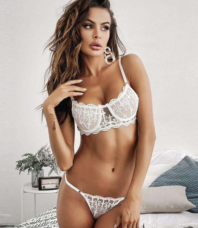 White Embroidered Bra Set - Rising Vegans