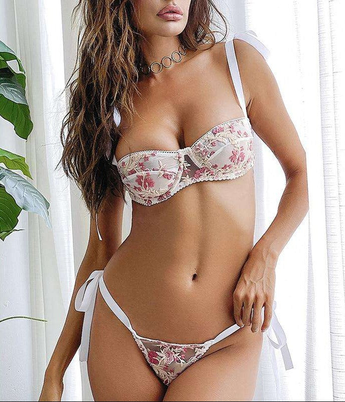 Floral Embroidered Demi Cup Bra Set - Rising Vegans