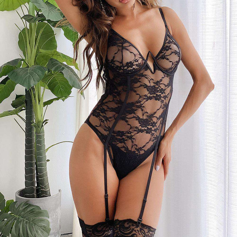 All Lace Body Suit with Garter - Rising Vegans