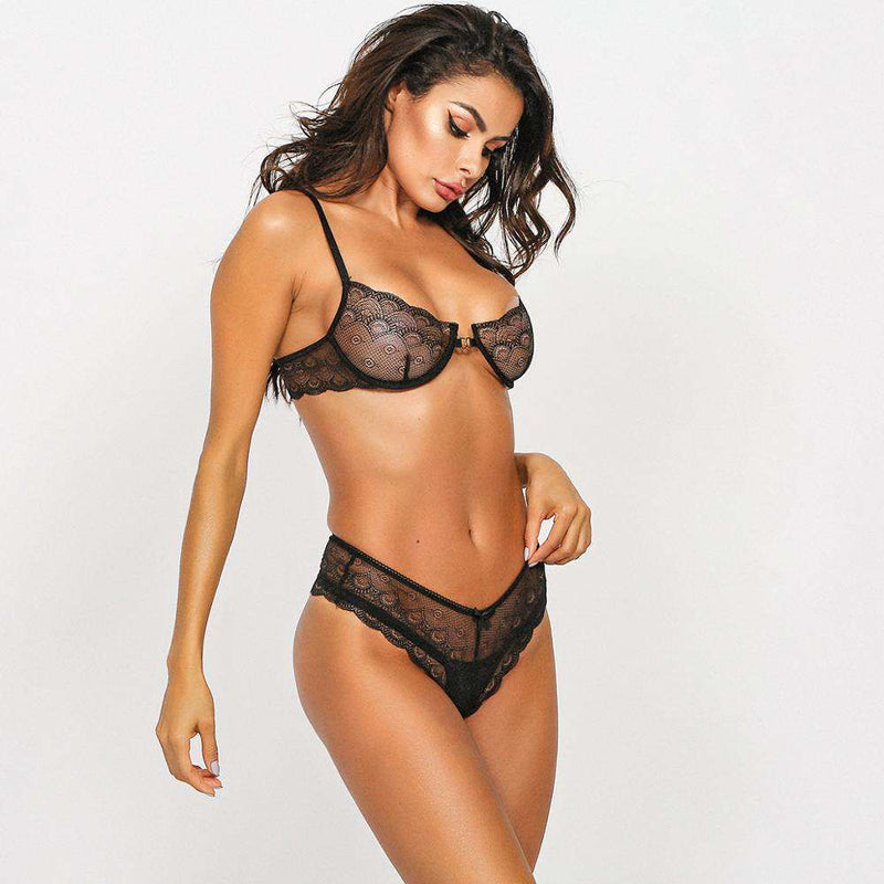 Black Lace Underwear Bra Set - Rising Vegans