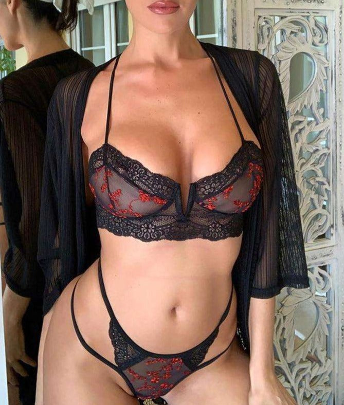 Red Detail Embroidered Black Bra Set - Rising Vegans