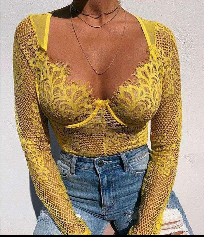 Lace Long Sleeve Bodysuit - Rising Vegans