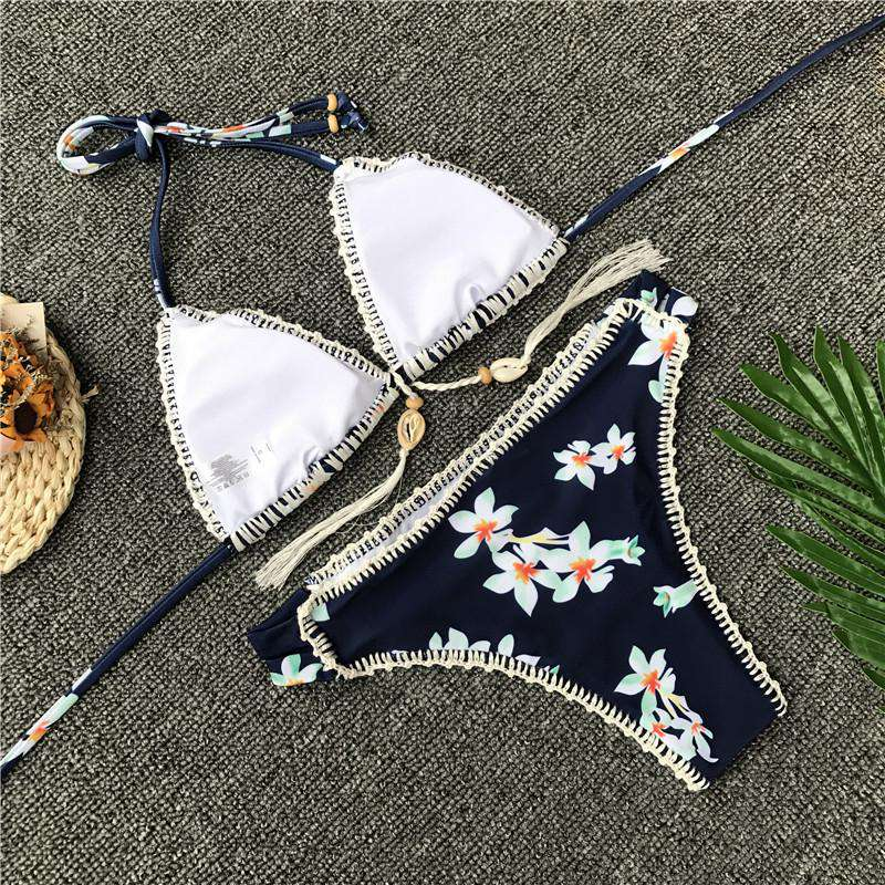 Crochet Trimmed Tropical Flower Bikini - Rising Vegans