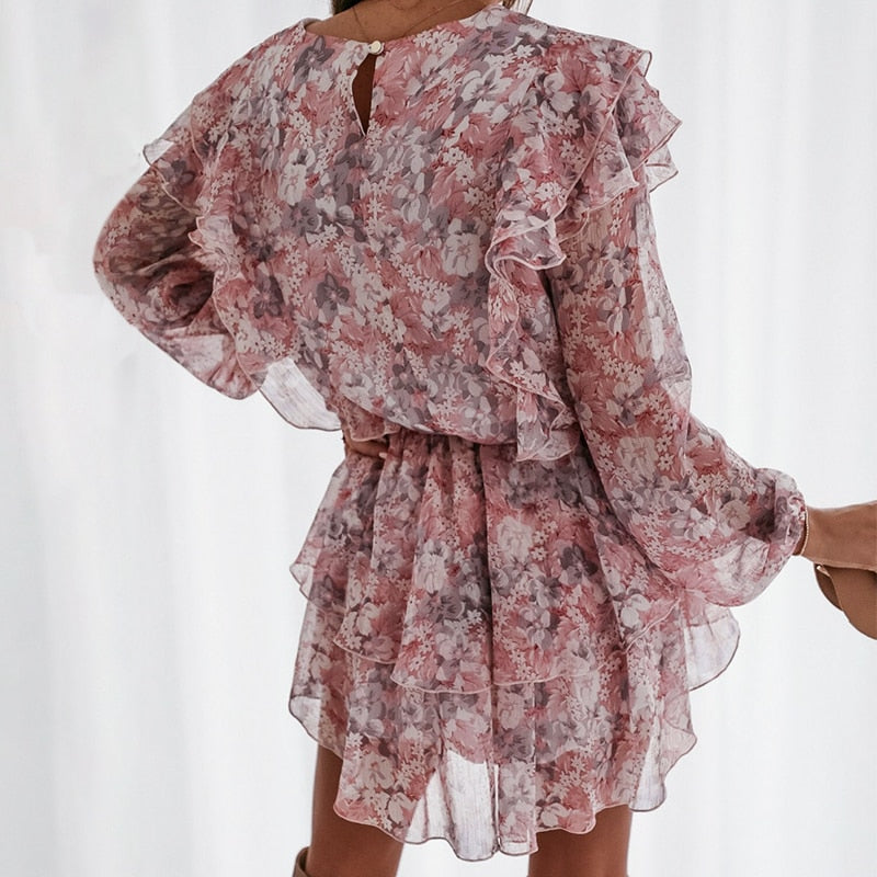 Long Sleeve Double Ruffle Chiffon Dress - Rising Vegans