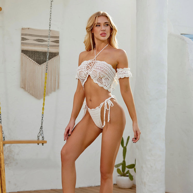 Crochet Crop Top Bikini Set - Rising Vegans