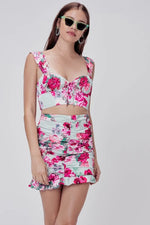 Pink Roses Crop Top and Skirt - Rising Vegans