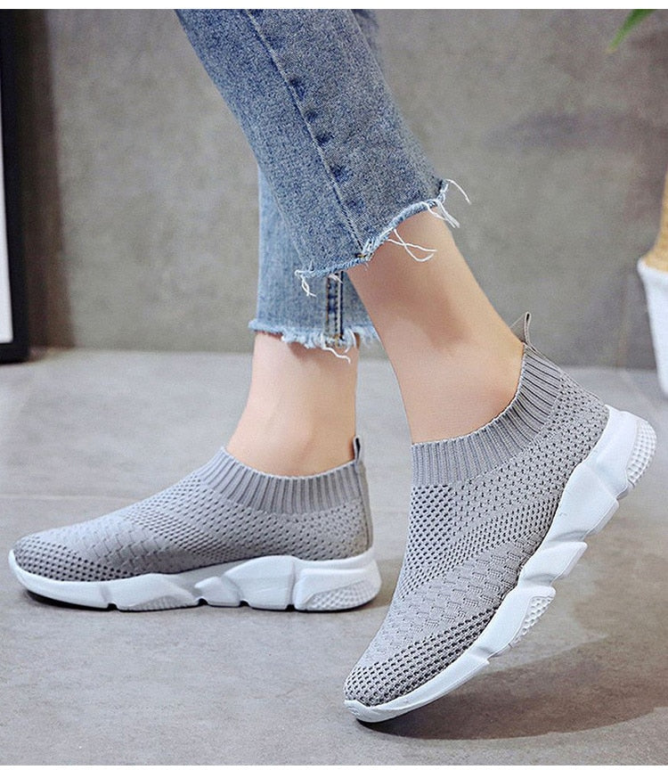 Women's Knit Stretch Sneakers - Rising Vegans