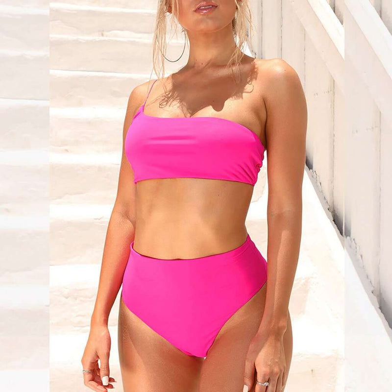 One Shoulder Bandeau High Waisted Bikini - Rising Vegans