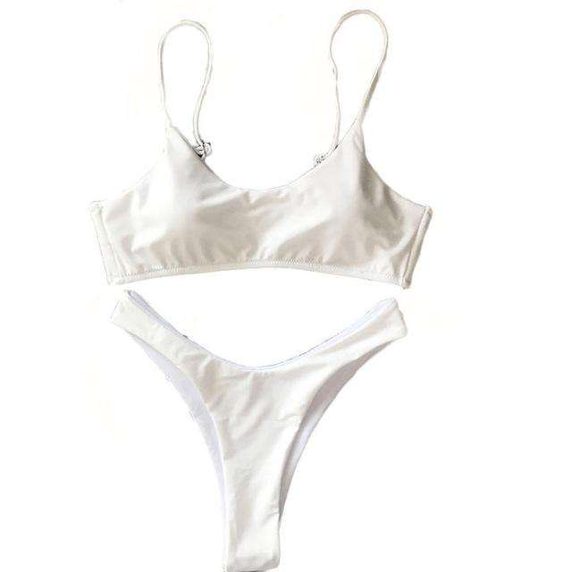 Scoop Neck Brazilian White Bikini Set - Rising Vegans