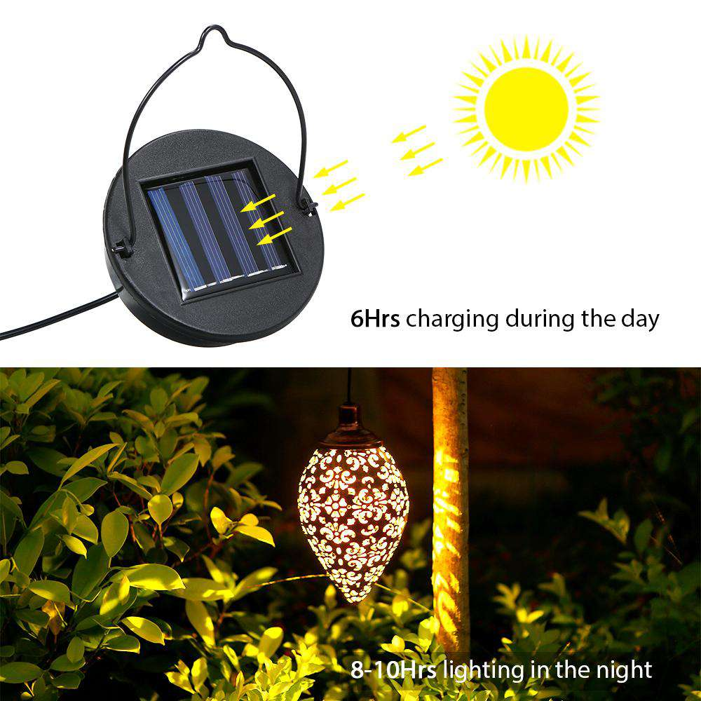 Solar Powered LED Outdoor Hanging Lantern - Rising Vegans