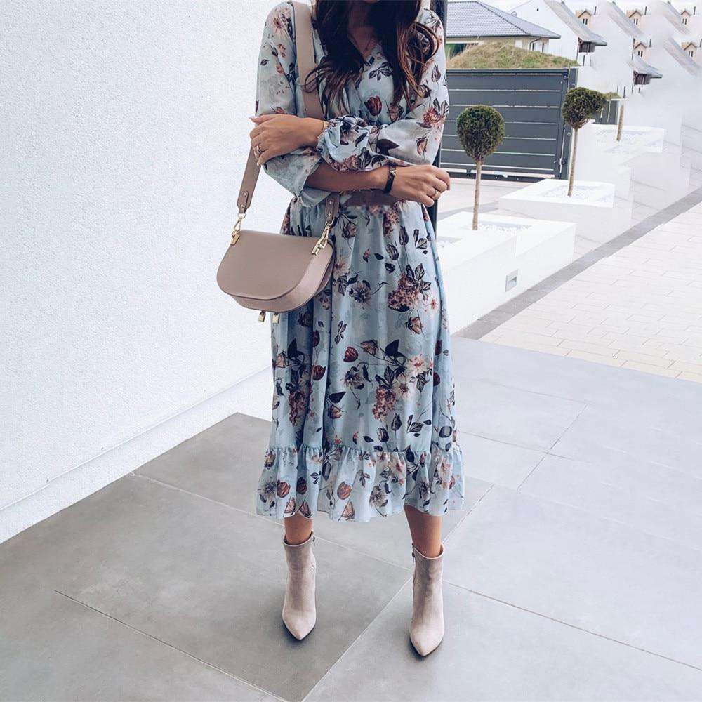 Blue Floral Midi Dress - Rising Vegans