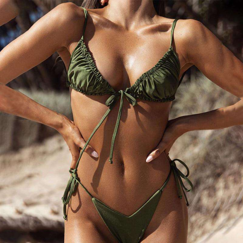 Ruched Triangle Shimmering Bikini - Rising Vegans