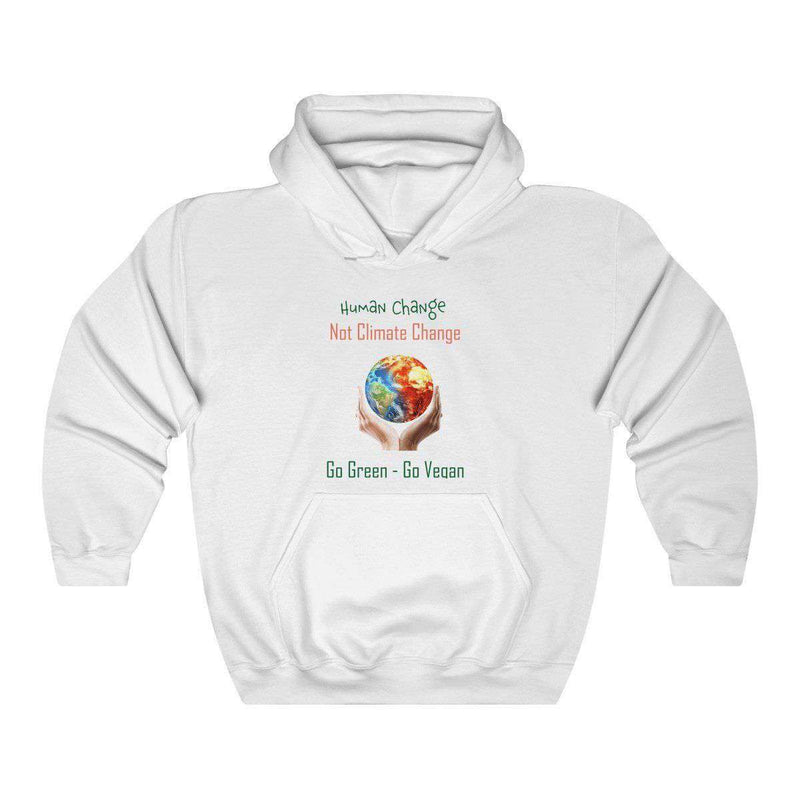 Women's Human Change Not Climate Change Heavy Blend Hoodie - Rising Vegans