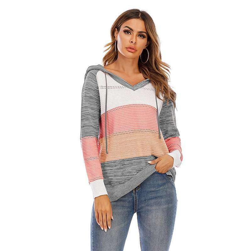 Patchwork Raised Ribbed Hoodie Pullover