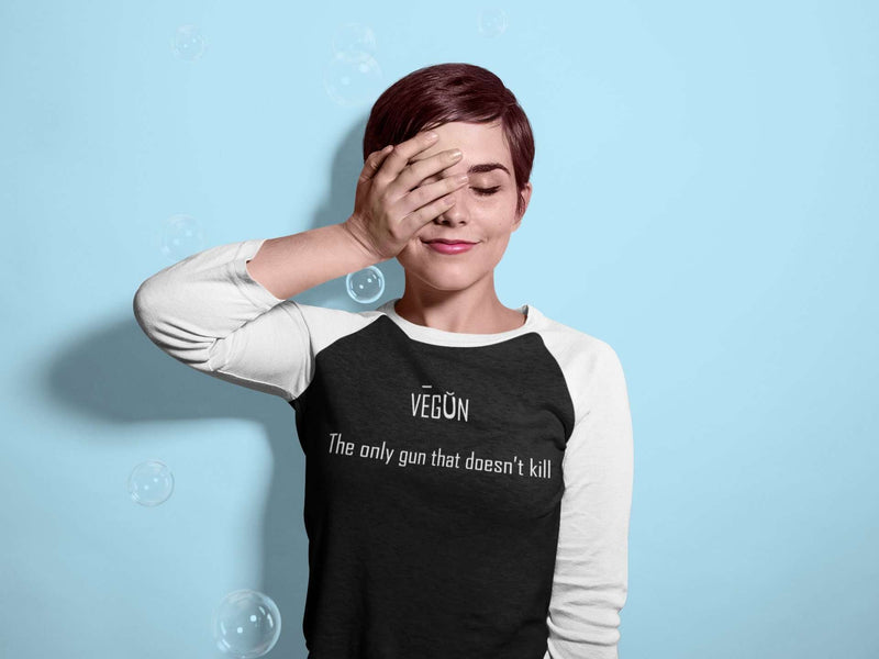 Women's VEGUN 3/4 Sleeve Baseball Tee - Rising Vegans