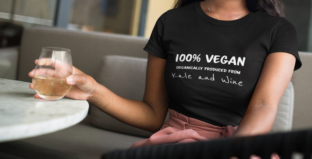 Kale and Wine Fitted Tee - Rising Vegans