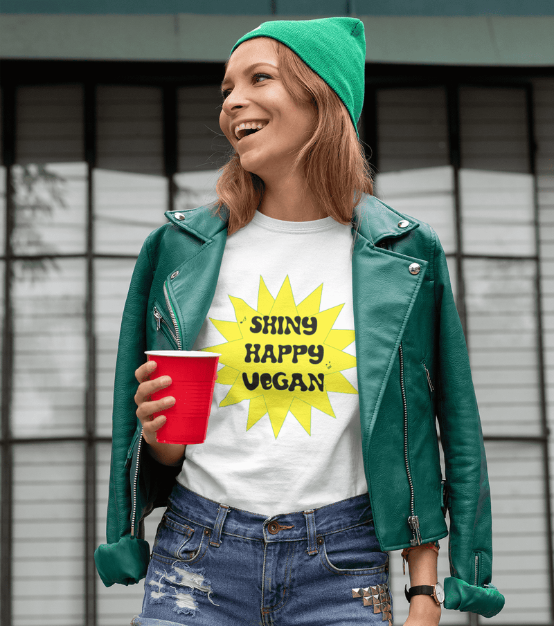 Shiny Happy Vegan Fitted Tee - Rising Vegans