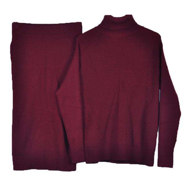Knitted Turtleneck Two Piece Sweater Set - Rising Vegans