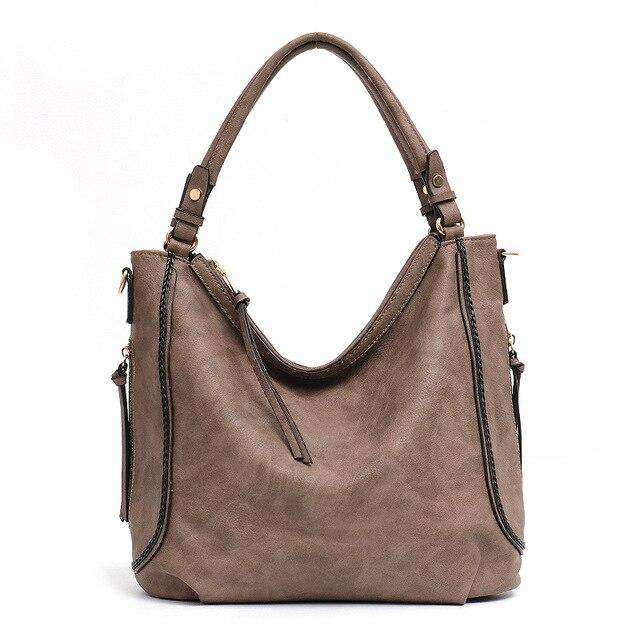 Braided Trim Vegan Leather Hobo Bag - Rising Vegans