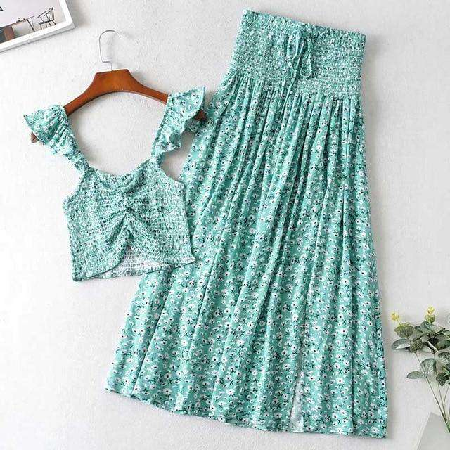 Daisy Print Shirred Two Piece Skirt Set - Rising Vegans