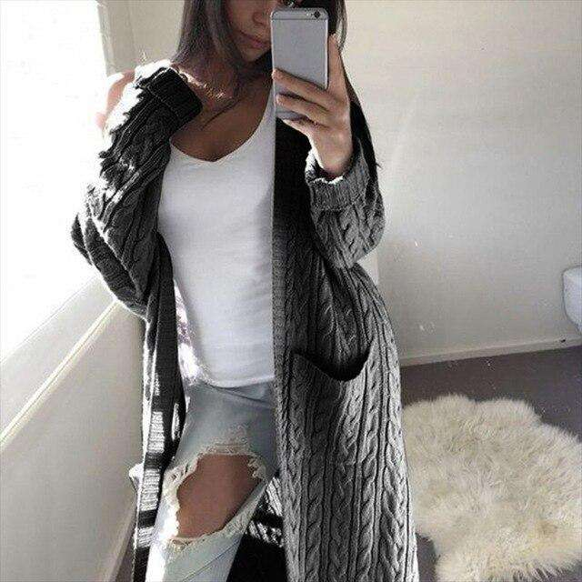Cable Knitted Long Cardigan - Rising Vegans