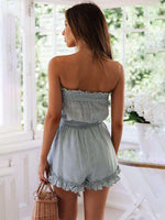 Blue Cotton Strapless Vegan Romper - Rising Vegans