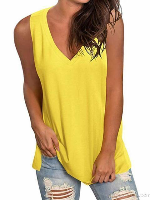 Solid Color V Neck Sleeveless Tunic Tank