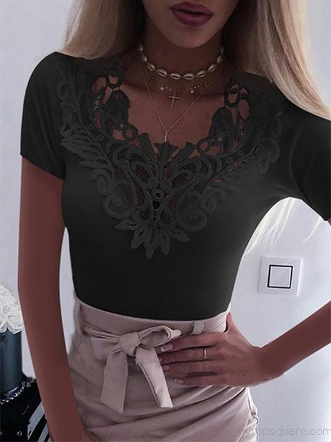 Hollow Out Lace Stitching Short Sleeve Top