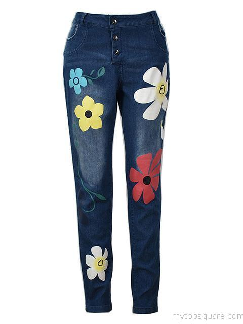 Flower Printed Slim Fit Jeans