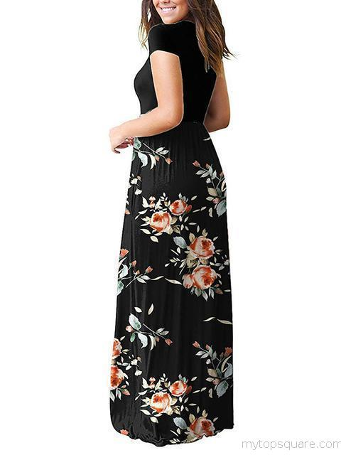 Floral Print Maxi Dress with Pockets