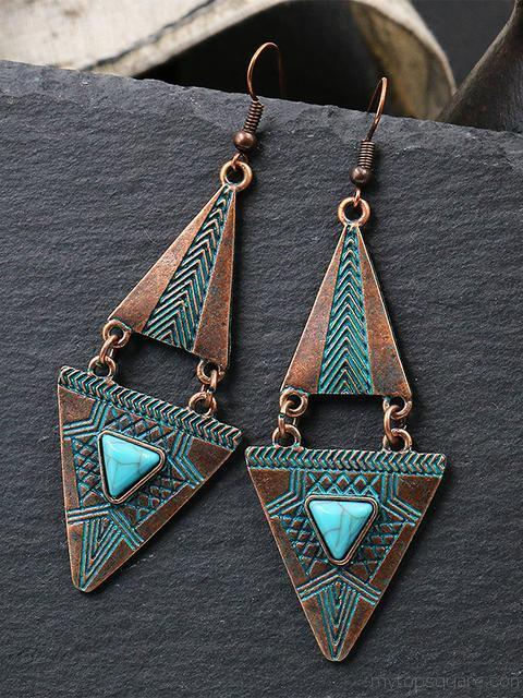 Geometric Double triangle Alloy Pendant Earrings