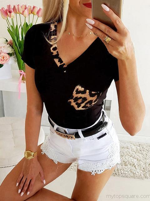 Leopard Splicing Pocket V-neck T-shirt