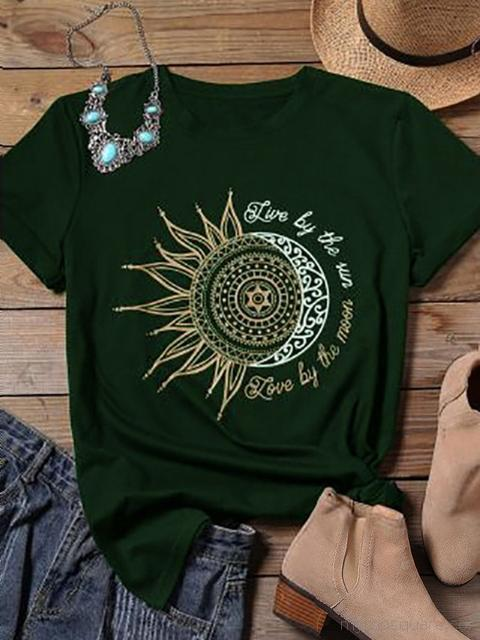 Sun Moon Graphic Print Short Sleeve T-shirt
