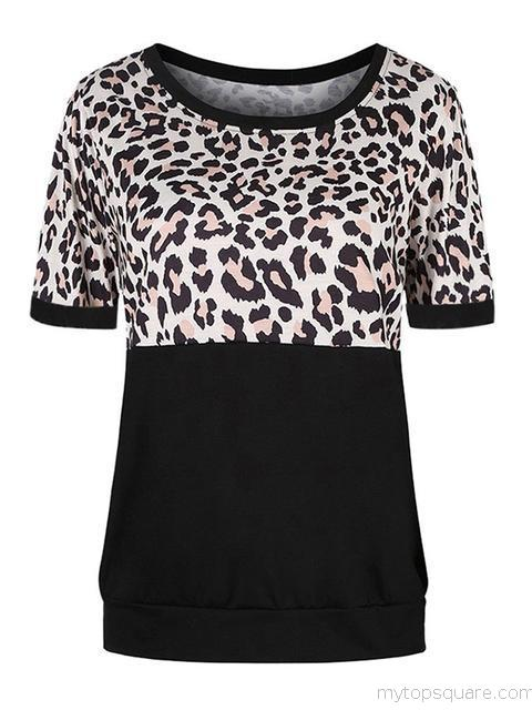 Leopard Patchwork Short Sleeve T-shirt