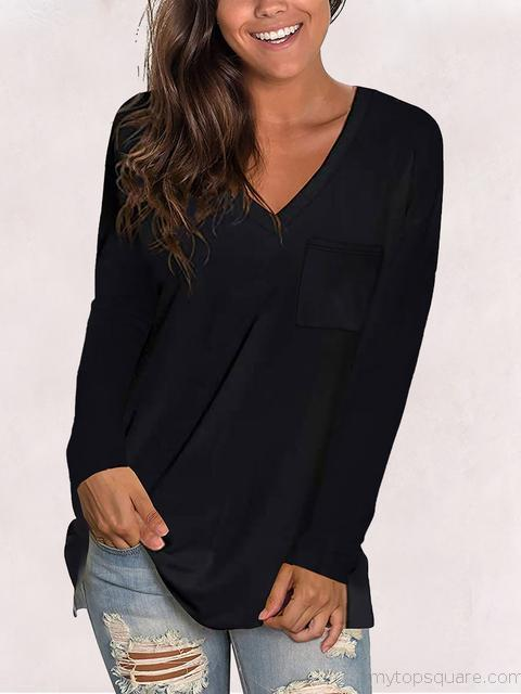 Long Sleeve V-neck Casual T-shirts