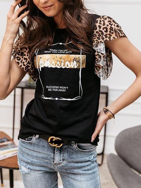 Leopard Splicing Sleeve Printed T-shirt