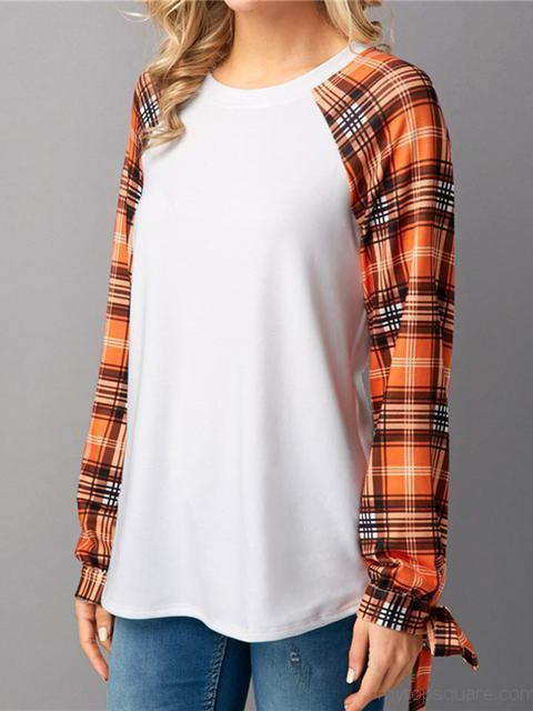 Plaid Sleeves Round Neck Tops