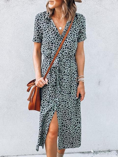 Leopard Print Short Sleeve Long Dress